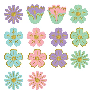 "amscan Party Supplies, Easter Flower Mini Glitter Cut Out Party Decorations, 2 1/2"", Multicolor, 50ct: Toys & Games"