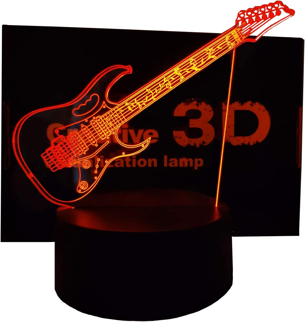 TOPXCEGUU Jem7V 3D Illusion LED Lamp Night Light Electric Guitar Decor for Home Decoration Xmas Birthday 16 Colors with Remote Control