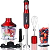 Immersion Blender LINKChef 4-in-1 Hand Blender Stick Powerful Low Noise Large 800ml Beaker, Stainless Steel Whisk and 500ml F