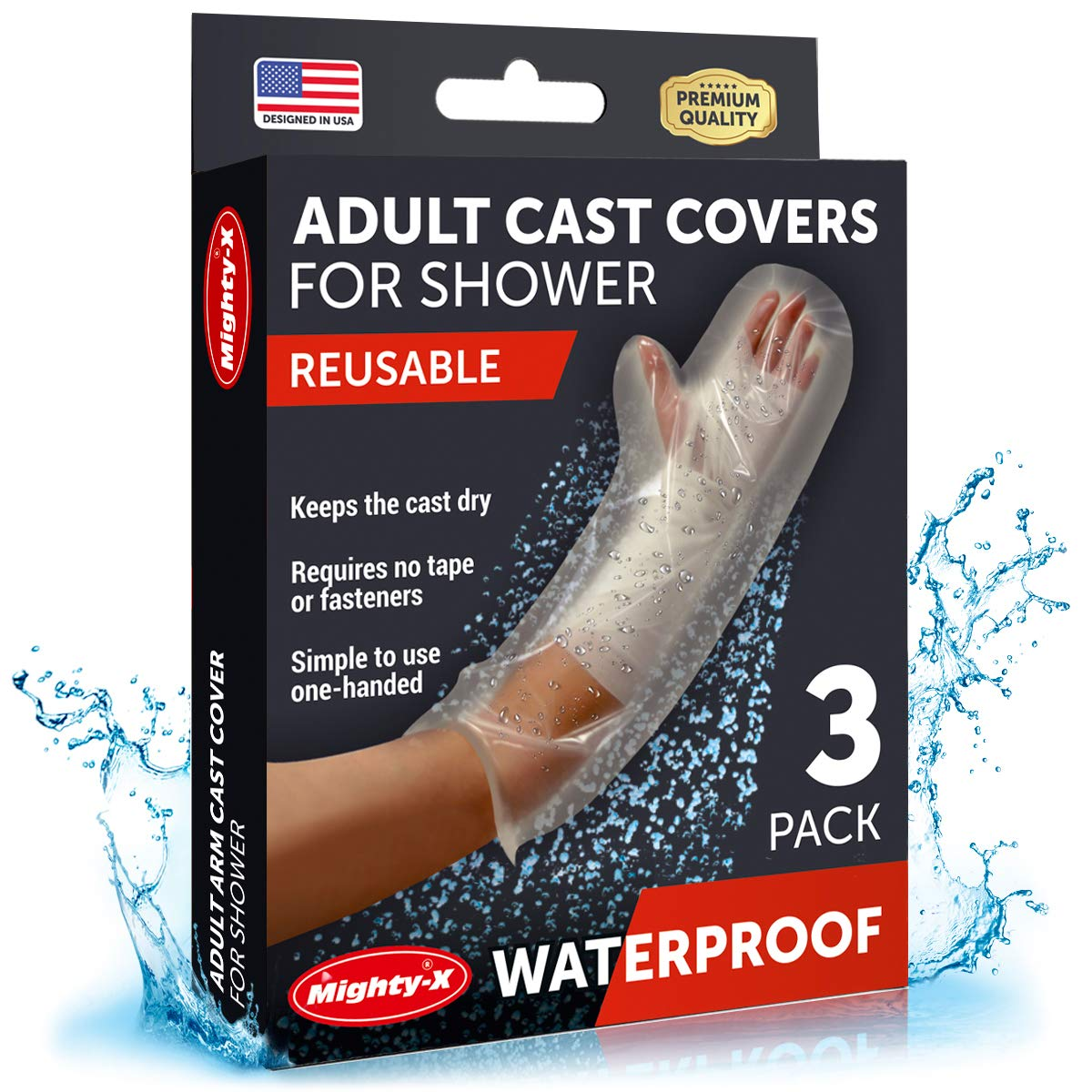 【2020 Upgraded】Waterproof Cast Cover Arm - 100% Reusable - Watertight Seal - Adult Cast Covers for Shower Arm, Wrist & Hand - 3 Pack: Industrial & Scientific