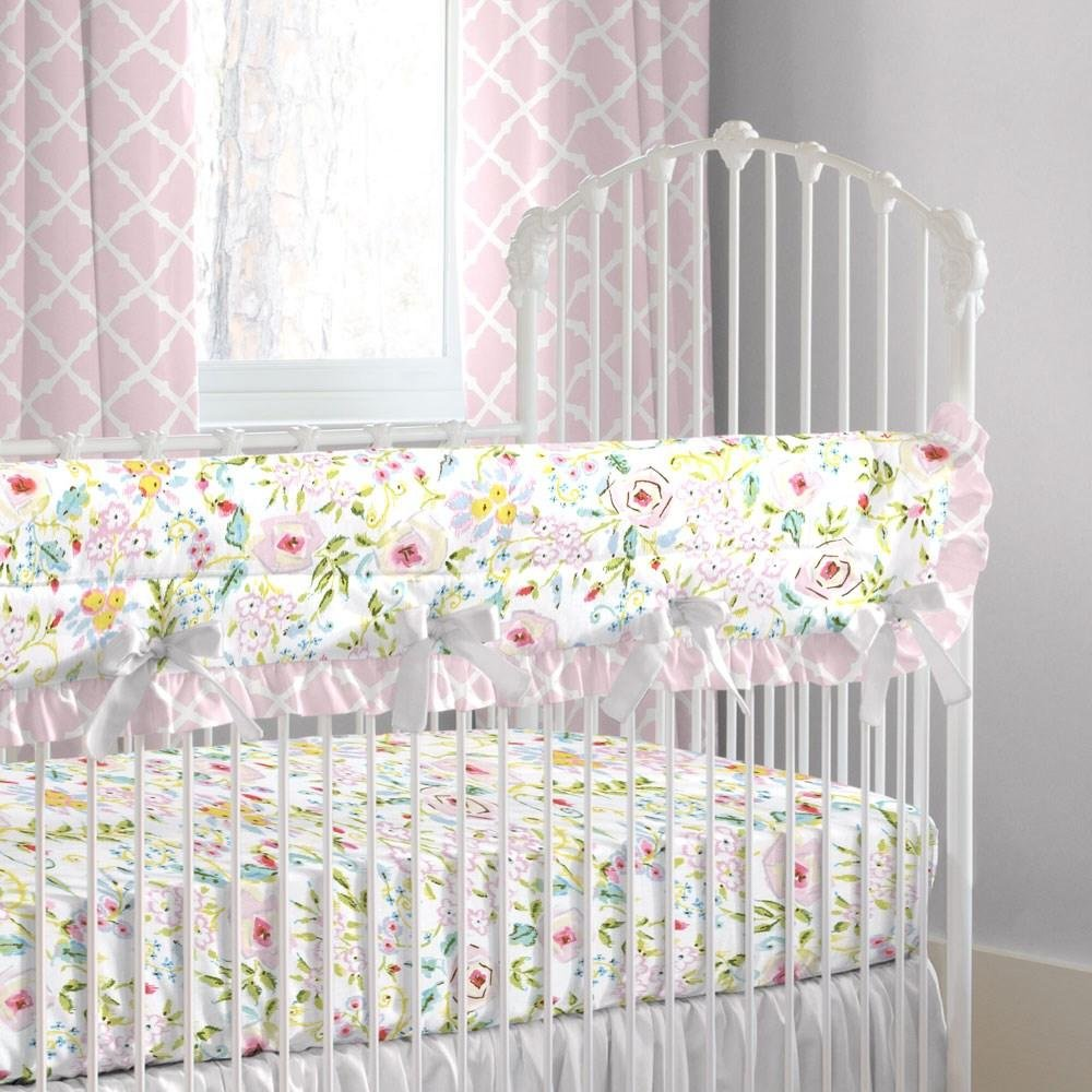Carousel Designs Pink and Gray Primrose Crib Rail Cover by Carousel Designs