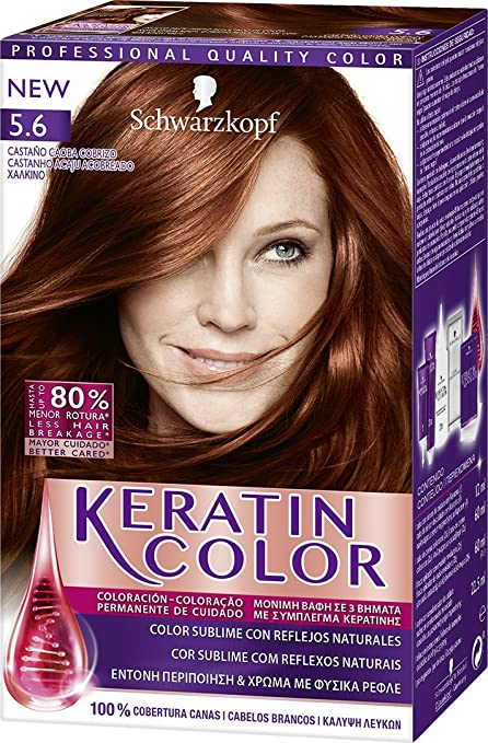 Keratin Color de Schwarzkopf - Tono 5.6 Castaño Caoba Cobrizo - 2 uds - Coloración permanente