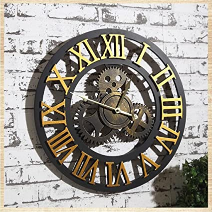 Reloj de pared Vintage paredes silenciadores industriales con relojes de diseño creativo con el hueco árabe