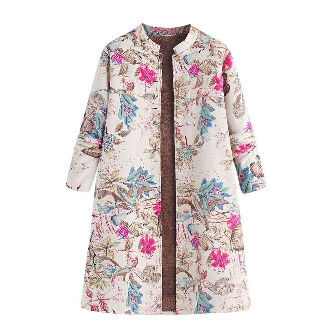 Manteau Femmes Hiver Womens Hiver Chaud Outwear Bouton Floral Poches Impression Vintage Manteaux Oversize HCFKJ-wc