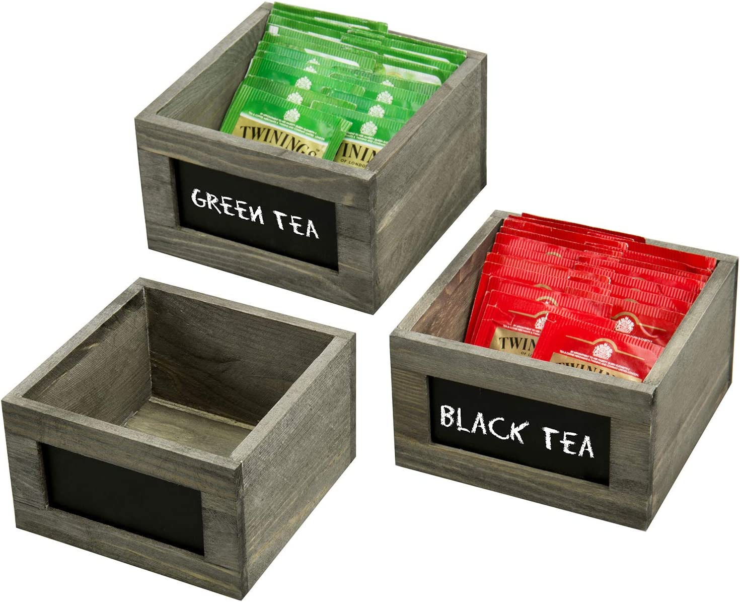 MyGift Vintage Gray Wood Storage Organizer Boxes for Tea Bags, Sugar & Sweeteners with Chalkboard Labels, Set of 3
