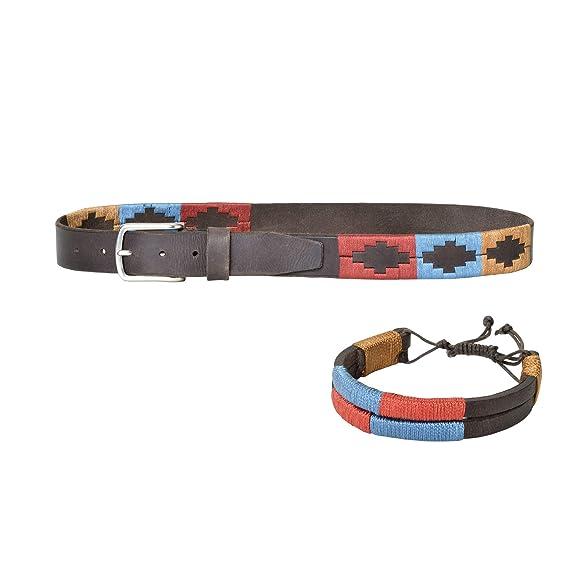 PELPE- Cinturón argentino de piel, con pulsera a juego. Cinturón bordado sobre el cuero, para hombre y mujer. Cinturones argentinos Polo.