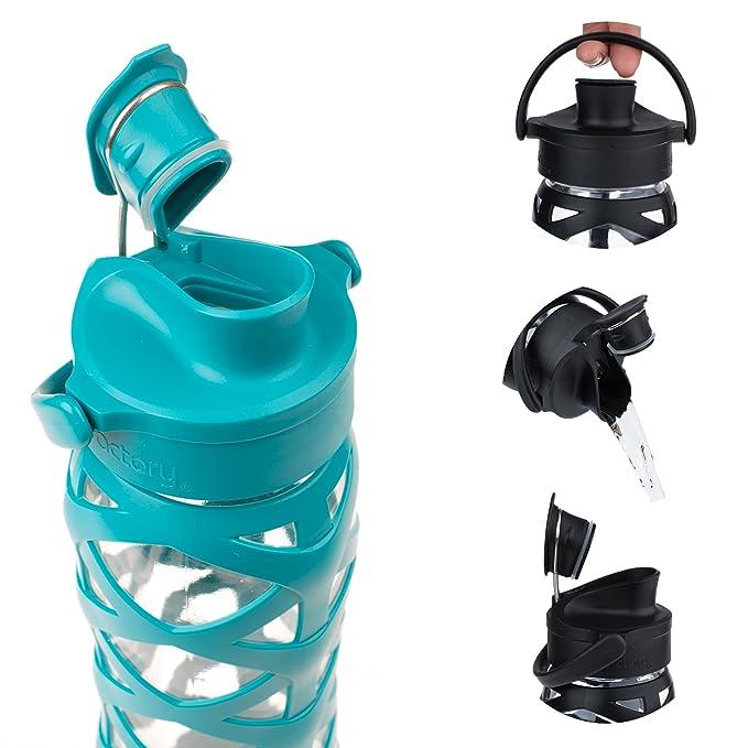 Lifefactory – Botella de Cristal con Tapa Active Flip Cap, Vidrio, Ultramarine, 6.5 x 6.5 x 27 cm: Amazon.es: Hogar