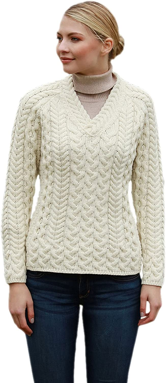 Aran Woollen Mills Supersoft Merino Cable and Weave Aran Sweater