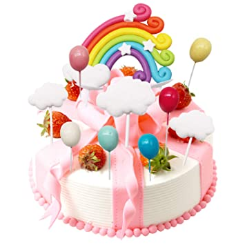 LAOZHOU Nube del Arco Iris Globo Cake Toppers Kit Decoración ...