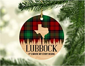 """Christmas Decorations Ornaments 2020 Lubbock Texas It's Where My Story Begin Xmas Present Funny Giff for Family New Home Gift Xmas Tree Decoration 3"""" Flat Holiday Keepsake"""