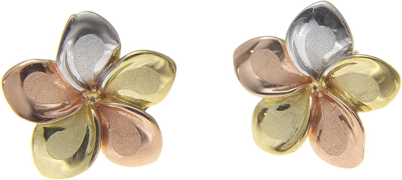 14K solid tricolor gold Hawaiian 7mm plumeria tropical flower stud post earrings
