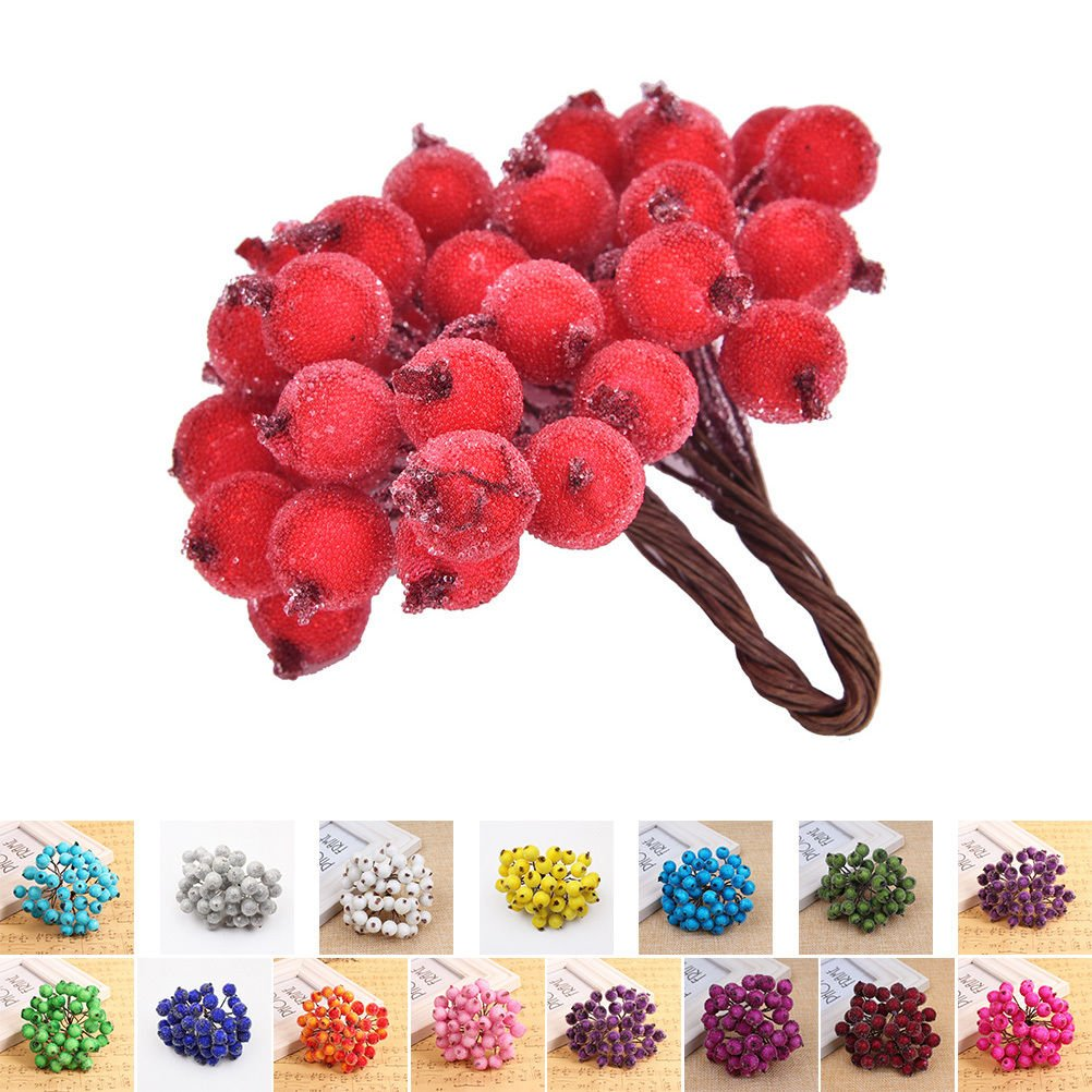 200pcs Artificial Frosted Berries Blue Mini Christmas Frosted Fruit