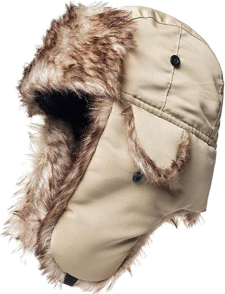 Winter Hat Warm Cap Ushanka Russian Trooper Trapper Hunting Aviator Cold Weather Ear Flap Chin Strap Khaki: Clothing