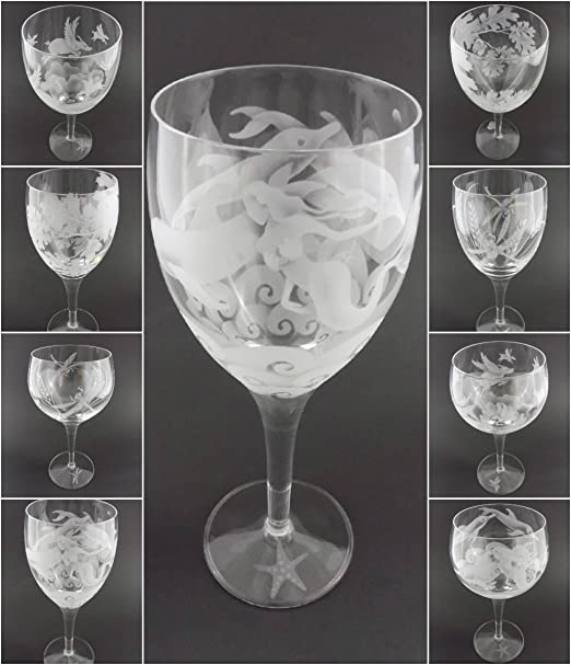IncisoArt Hand Etched Italian Crystal Goblet Sandblasted Handmade Wine Water Glass Engraved Ferns Leaves, 340 Milliliter Amorpax Inc White Wine 11.5 Ounce Sand Carved