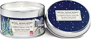 Michel Design Works Soy Wax Candle in Travel Tin Size, Christmas Snow