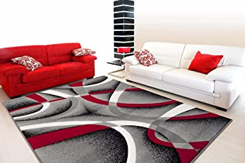 Amazon Com 2305 Gray Black Red White Swirlss 3 11 X 5 4 Modern Abstract Area Rug Carpet Furniture Decor