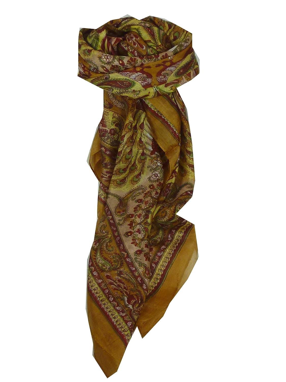 Dawa Square Caramel & Pink Traditional Silk Scarf by Pashmina & Silk