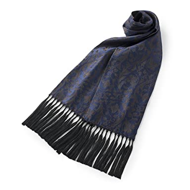 Penrose Floral Pattern Silk Scarf: Blue