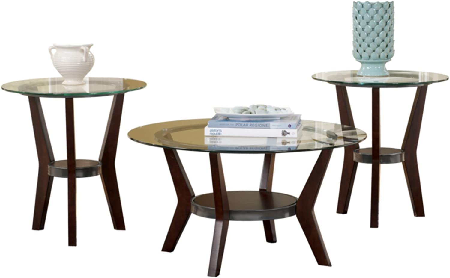 Amazon Com Signature Design By Ashley Fantell Circular Glass Top Occasional Table Set Includes Cocktail Table 2 End Tables Dark Brown Furniture Decor