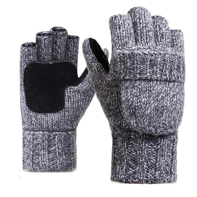viele möglichkeiten Modestile Laufschuhe LvLoFit Natürlich Wolle Strick Handschuhe Leger Palme Fingerlos mit  Fingerschutz Warme Gestrickt Winter Gloves für Damen Herren