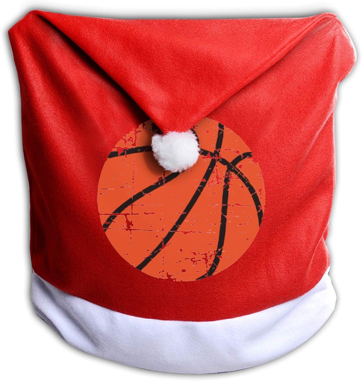 Leila Marcus - Fundas para sillas navideñas (diseño de Papá Noel, diseño de basquetbol), color rojo