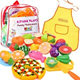 Kimicare Kitchen Toys Fun Cutting Fruits Vegetables Pretend Food Playset for Children Girls Boys Educational Early Age Basic