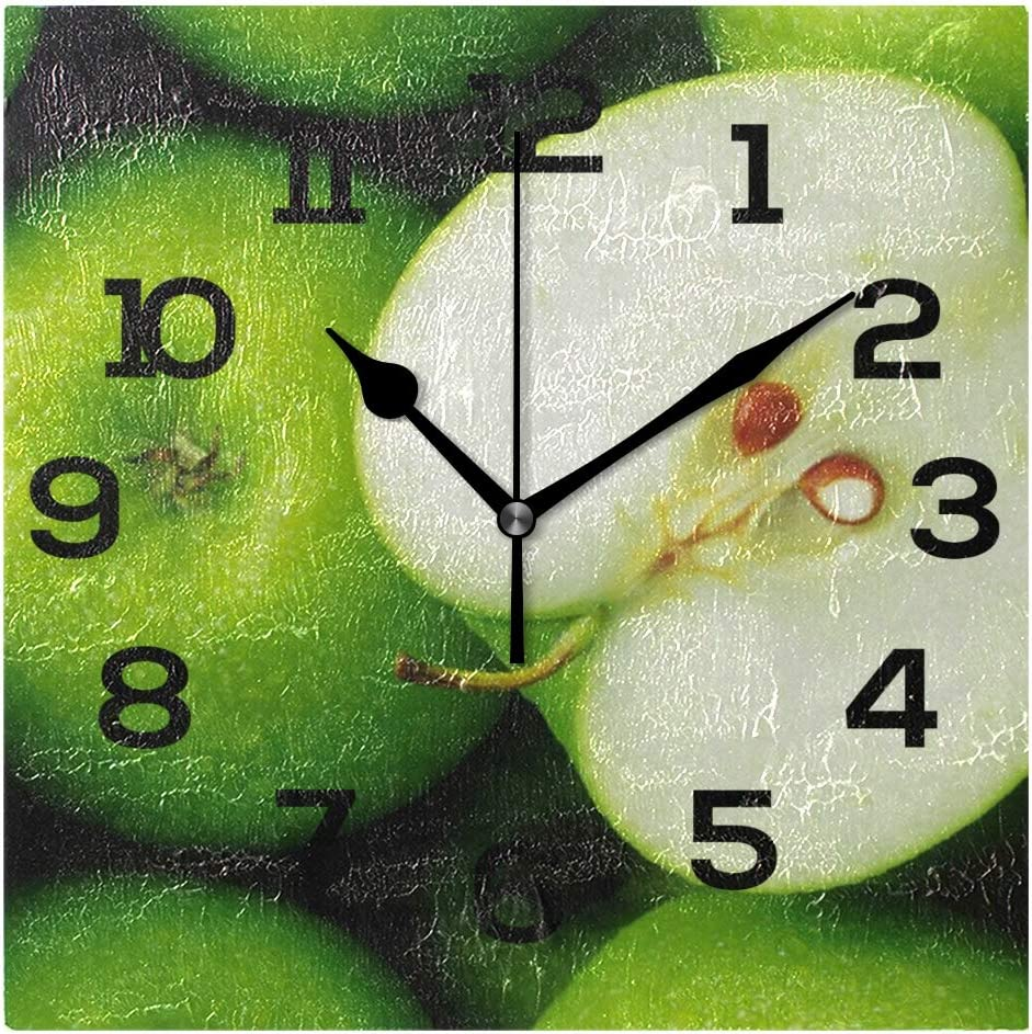IMONKA Green Apples Square Wall Clock Non Ticking Silent Acrylic Clocks for Home Decor Living Room Bedroom Kitchen School Office