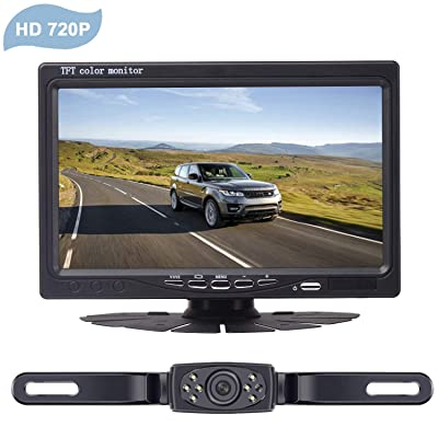 "LeeKooLuu HD 720P Wireless Backup Camera System for Cars, Trucks, Minivans, SUVs with 7"" LCD Monitor Rear/Front View System IP68 Waterproof Night Vision Guide Lines ON/Off for Continuous/Reversing Use : Camera & Photo"