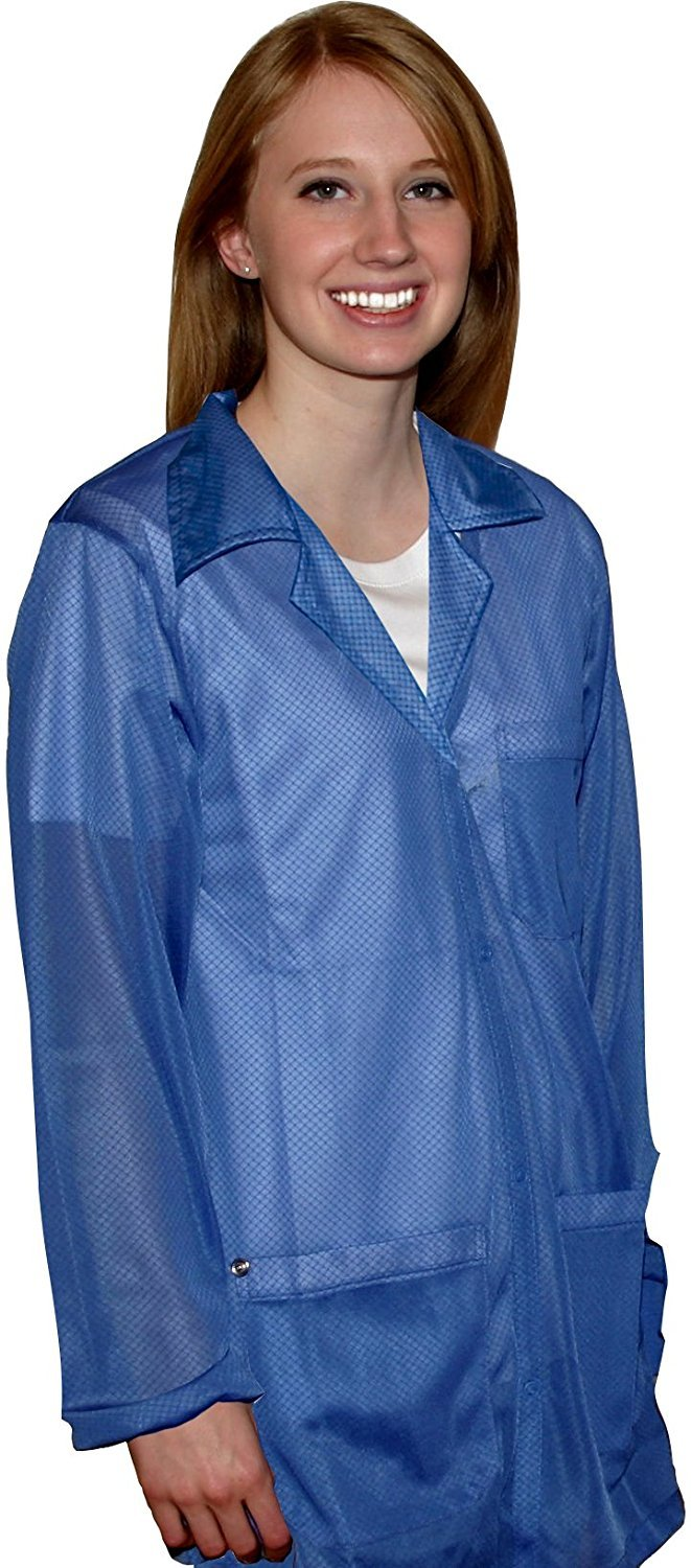 StaticTek Full Sleeve Snap Cuff ESD Jacket | Anti-Static Lab Coat | Certified Level 3 Static Shielding | Light Weight | ESD Smocks with High ESD Protection | XLarge | Light Blue | TT_JKC8805SPLB