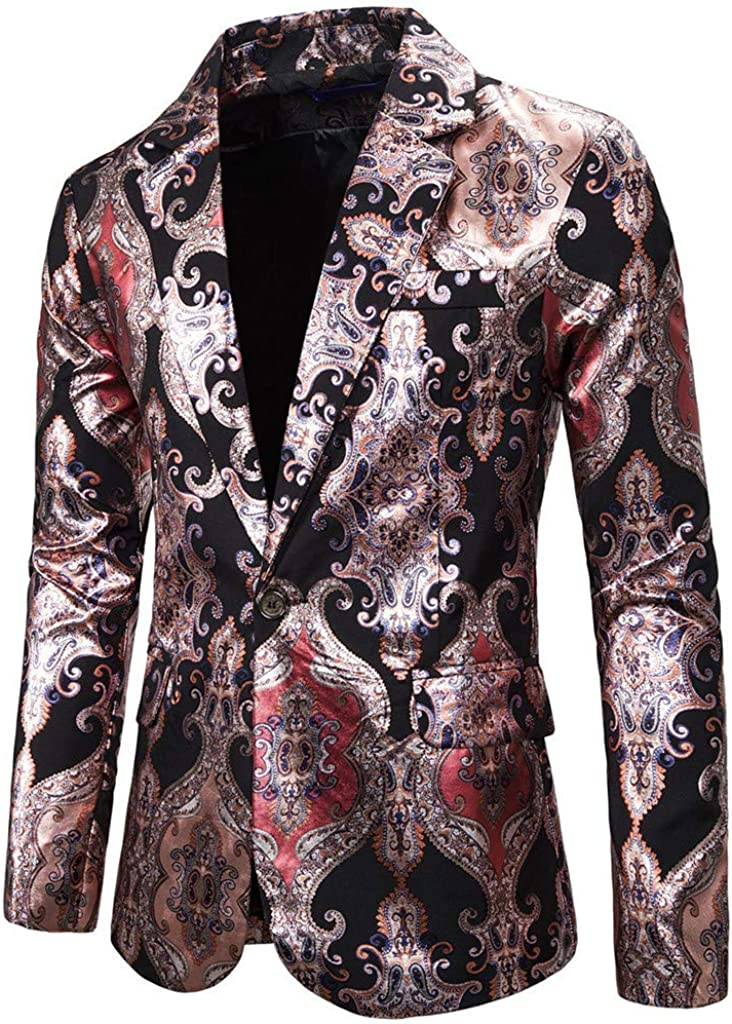 Centory Mens Shiny Sequins Jacket Blazer One Button Tuxedo for Party,Wedding,Banquet,Prom