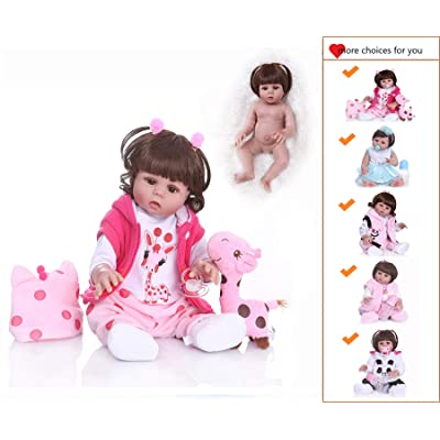 Zero Pam Icradle Reborn Baby Dolls Silicone Full Body Girl,18 Inches 45cm Alive Baby Doll Anatomically Correct Girl, Real Bebe Doll for Girl As Xmas Gift (Anatomically Correct Girl): Toys & Games