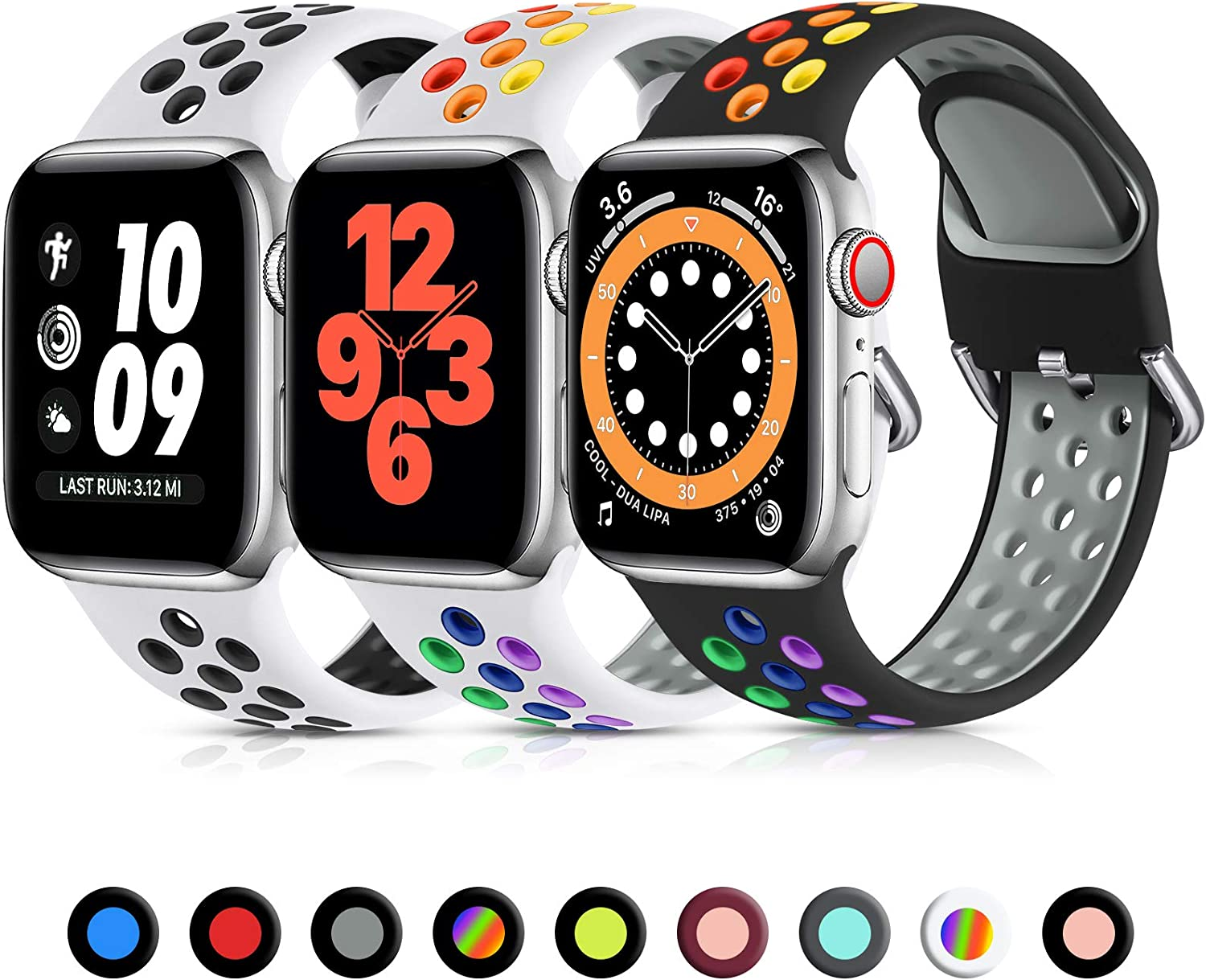 Lerobo 3 Pack Bands Compatible for Apple Watch Bands 44mm 42mm 40mm 38mm, Soft Silicone Sport Strap Breathable Replacement Band for Apple Watch SE iWatch Series 6, Series 3,Series 5 4 3 2 1 Women Men