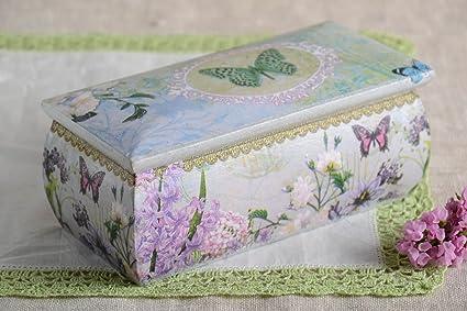 Caja de decoupage hecha a mano de madera joyero original regalo para mujer