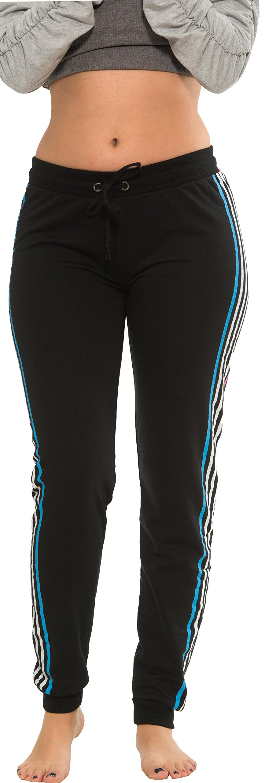 Coco-Limon Women Regular & Plus-Size Jogger Sweatpants , Multi-Striped Leg,1X,Black