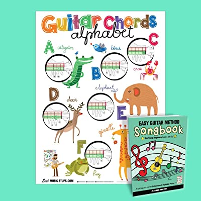 "Guitar Chords Alphabet Kids Poster 16"" x 20"" + Easy Guitar Method Songbook • Best Music Stuff: Musical Instruments"