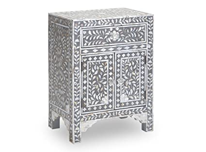 Mother Of Pearl Inlay Bedside Table In Grey