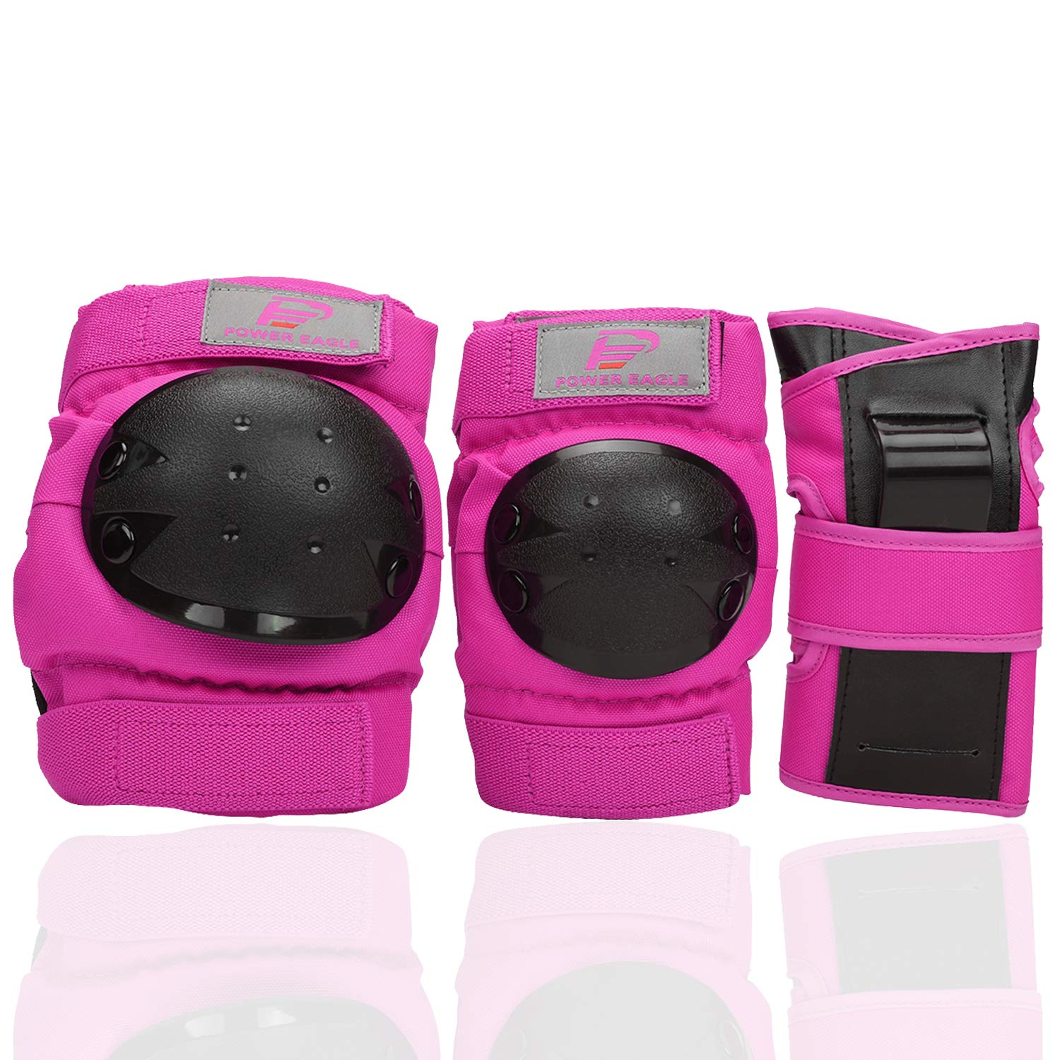Power Eagle Kids Adults Knee Pads and Elbow Pads with Wrist Guards Protective Gear Suit for: Scooter, Skateboard, Bicycle, Snowboard, Inline Skating, Roller Skating Safety Protection (Pink, X-Small)