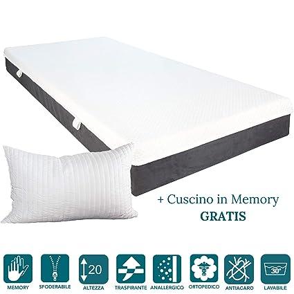evergreenweb – colchón de Espuma Memory Foam con Cojines Cama Gratis 20 cm, Revestimiento desenfundable