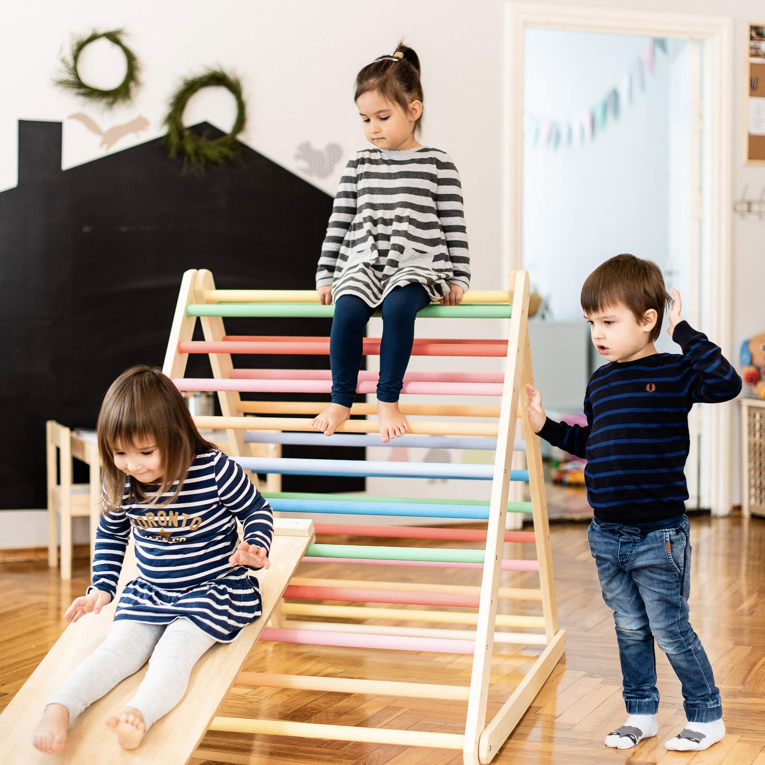 Painted Pikler triangle, Step Triangle, Climbing ladder for toddler, Climbing triangle for toddlers , Triangle with ramp