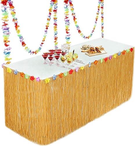 Fullsexy YHmall Falda de Mesa Hawaiian Grass para Decoraciones de ...