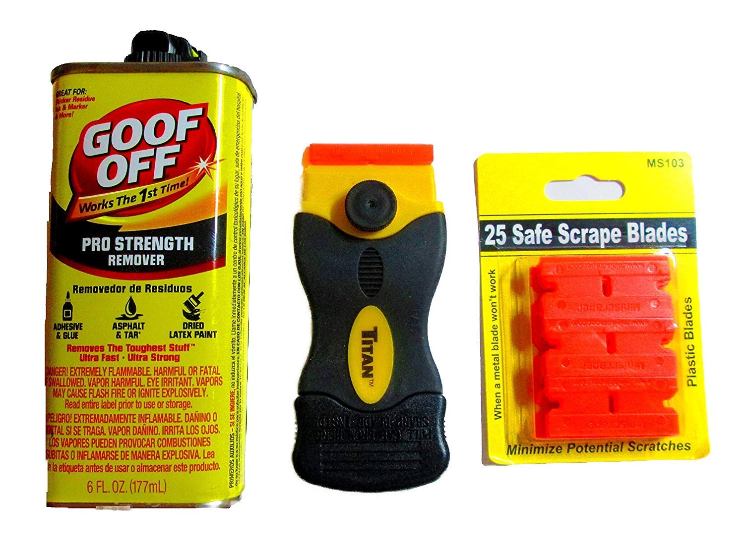 Amazon.com: Goof Off Adhesive Removal Kit and Titan Mini Scraper / 25 Plastic Blades: Home Improvement