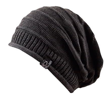 89410cab0c0 Long Beanie oversize Mütze Erik - Strickmütze aus 100% Baumwolle unisex  (grau)