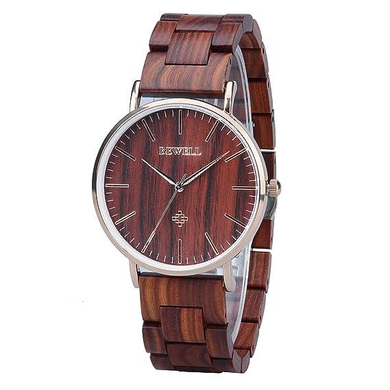 BEWELL Relojes Madera Hombre Analógico Cuarzo Japonés con Correa de Madera Redondo Casual Relojes de Pulsera