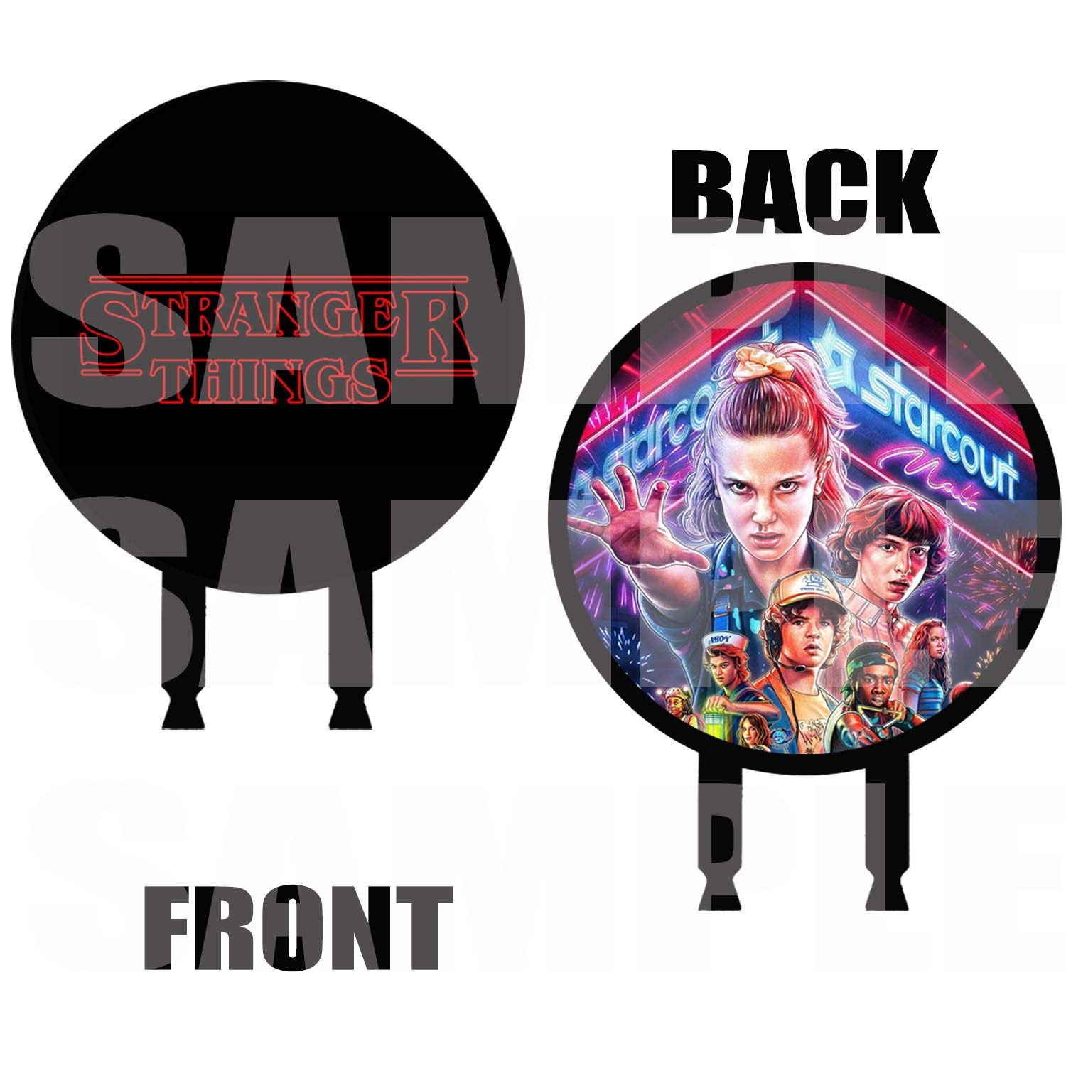 Stranger Things Cake Topper, 6 inch Round Circle 2 Sided Centerpiece Different Images Movie, 1 pc, Eleven Mike Dustin Lucas Will Steve Nancy Jonathon Joyce Jim Max Billy by Party Over Here