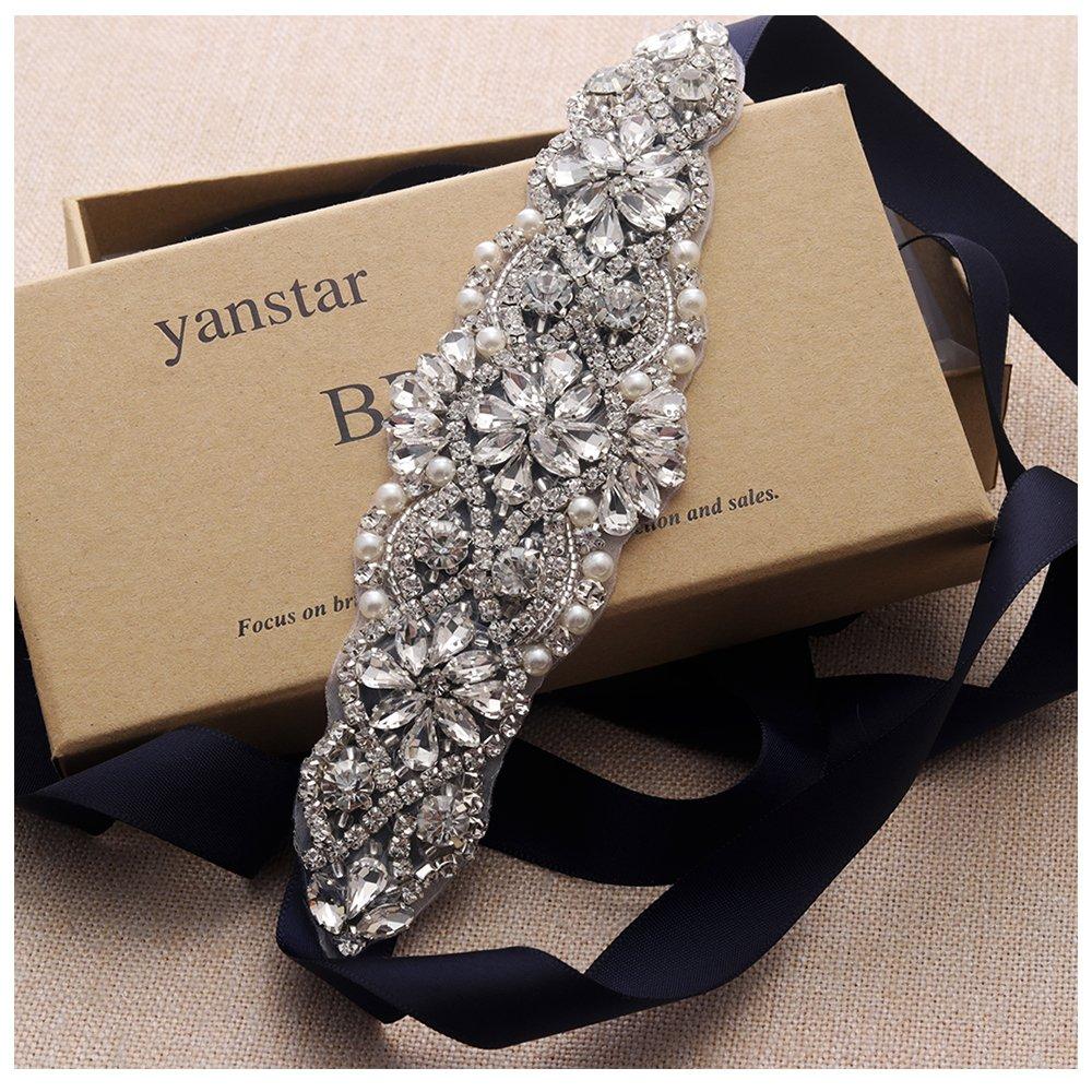 Yanstar Wedding Bridal Belts Black Sashes Handmade Silver Rhinestone Beads Belt For Bridal Bridesmaid Dresses (silver/black)