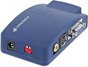 Fosmon VGA To RCA Adapter, Composite AV S Video To VGA Converter, PC To TV Video Switch Box For HDTV, Monitors, Laptop, Desktop, PC