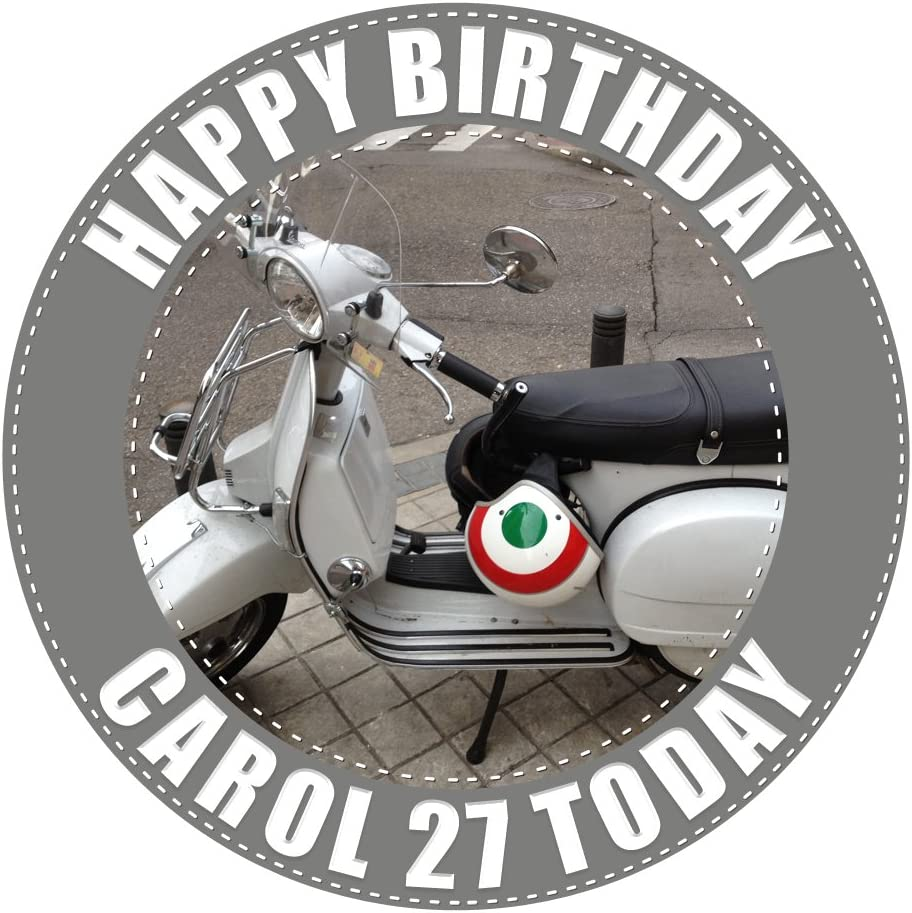 Scooter Personalised Birthday cake Topper Music MODS  LOGO any logo