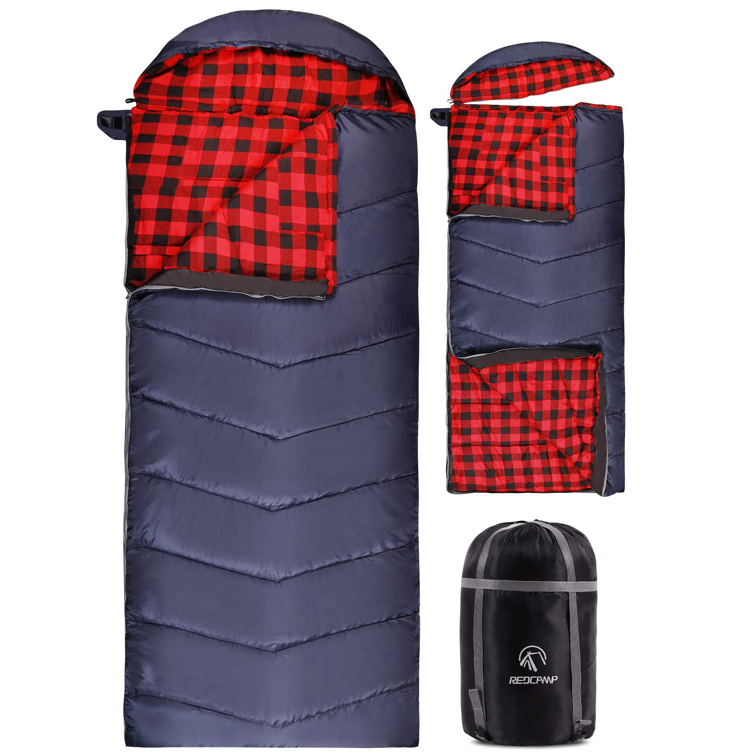 REDCAMP Flannel Sleeping Bag for Adults, Large Cotton Sleeping Bags for Camping with Detachable Hood, Red Plaid with 4lbs Filling (91''x33'') by REDCAMP
