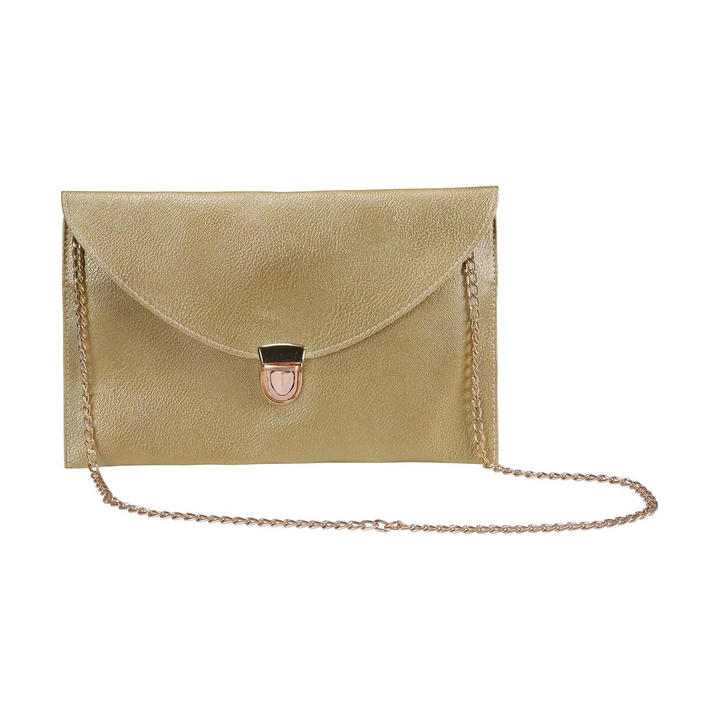 HDE Women's Fashion Cross Body Gold Buckle Purse Vegan Leather Envelope Handbag
