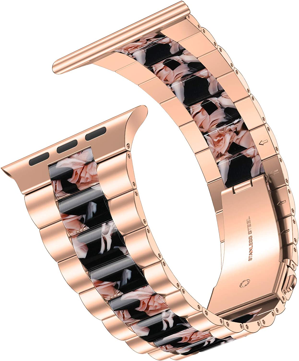 iiteeology Compatible with Apple Watch Band 44mm 42mm, Resin Stainless Steel Metal Link Wristbands for iWatch SE Series 6 5 4 3 2 1 - New Rose Gold+Black Flowers Series 5/4/3